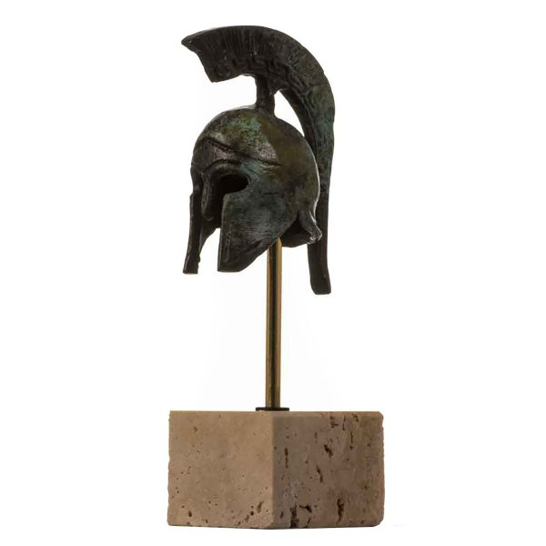 Helmet Spartan Officer  Ancient Greek  Bronze Museum Replica Vintage with base 4.9″