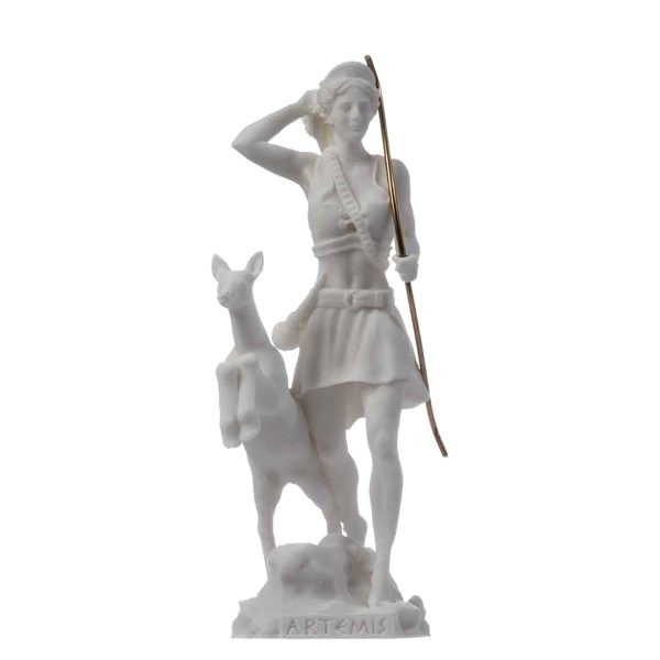 Goddess Artemis Diana Greek Statue Nature Moon Alabaster 6.69″