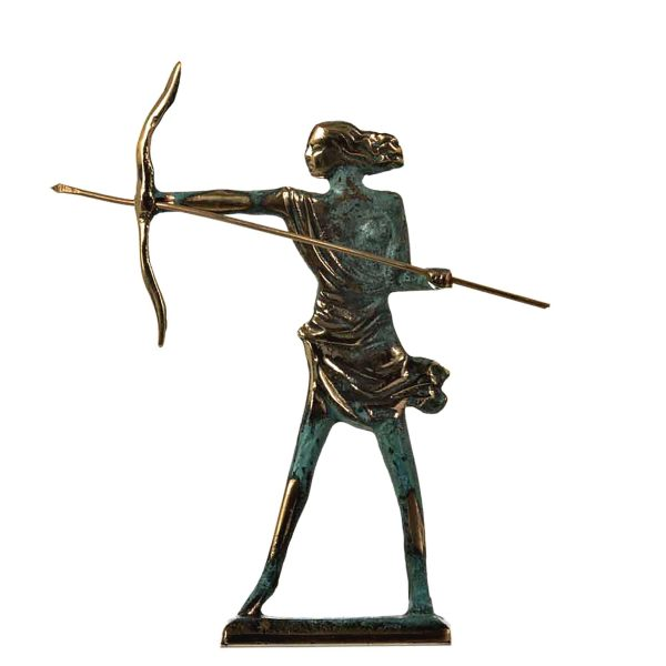 Artemis Diana Greek Statue Nature Moon Goddess with Bow Solid Bronze 6.7″