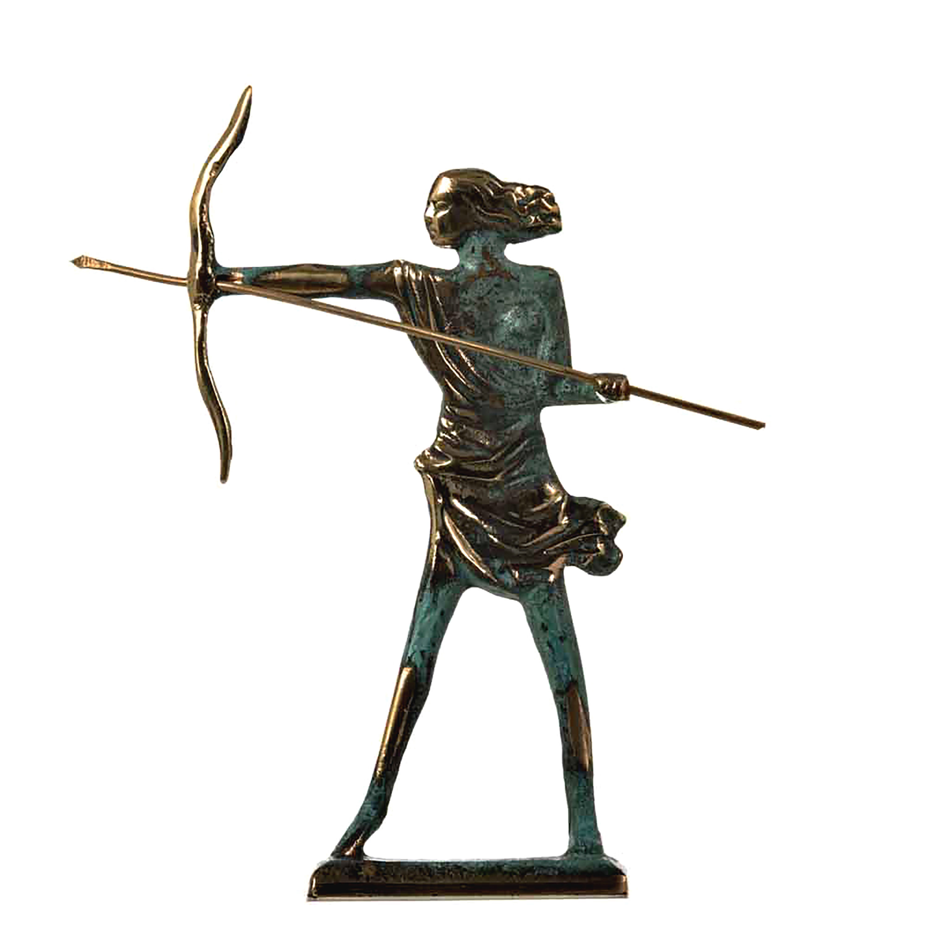 """Artemis Diana Greek Statue Nature Moon Goddess with Bow Solid Bronze 6.7"""""""