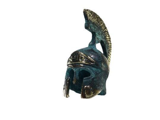 Ancient Greek Bronze Miniature Helmet Bronze Oxidation Handmade 2.95″ 386