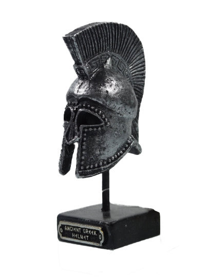 Ancient Greek Warrior Helmet 3.93″ Collectible Decor Silver Coloured