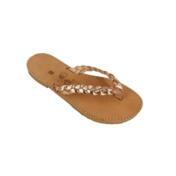 Gold Brown Braided Ancient Greek Style Leather Sandals Roman Handmade Womens Shoes Toe Ring Summer Strappy Slip-on Slide Flat Flip-Flops