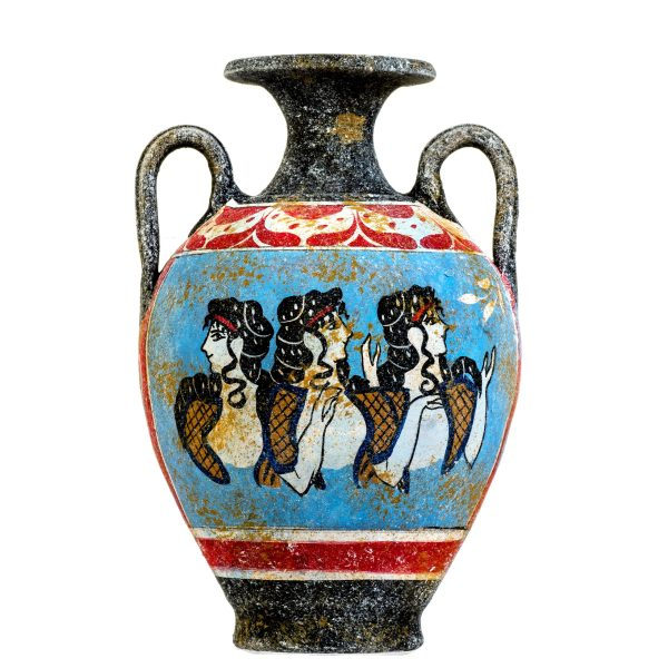Ancient Greek Minoan Amphora Handmade Ceramic Pottery Vase With Fresco Mural Ladies in Blue