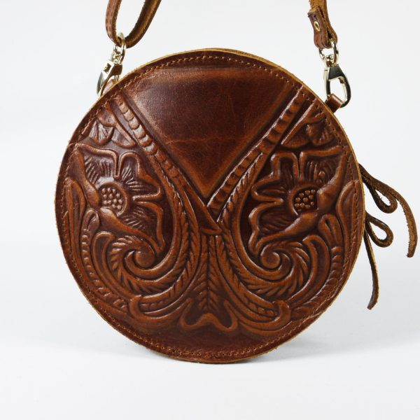 Embossed Leather Shoulder Round Bag Natural Tan Brown Handmade Pyrography Floral Design Cross Body Saddle Vintage Handbag