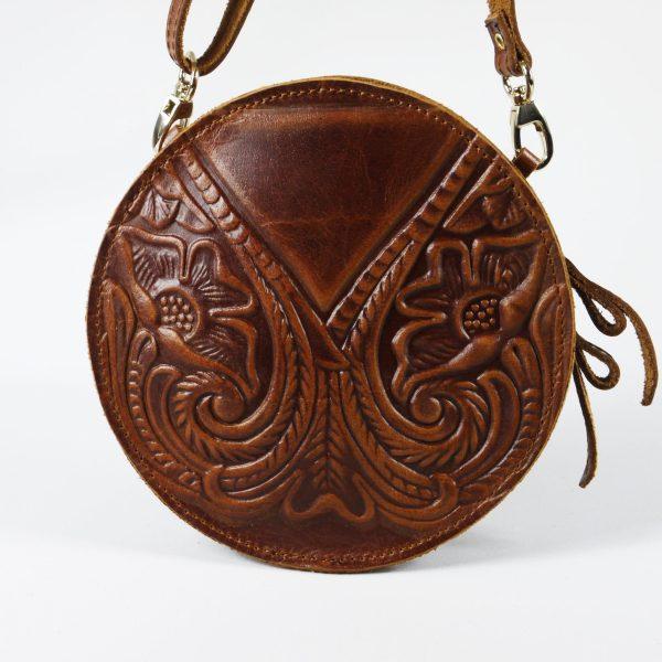 Embossed Leather Shoulder Round Bag Natural Tan Brown Black Handmade Pyrography Floral Design Cross Body Saddle Vintage Handbag Purse