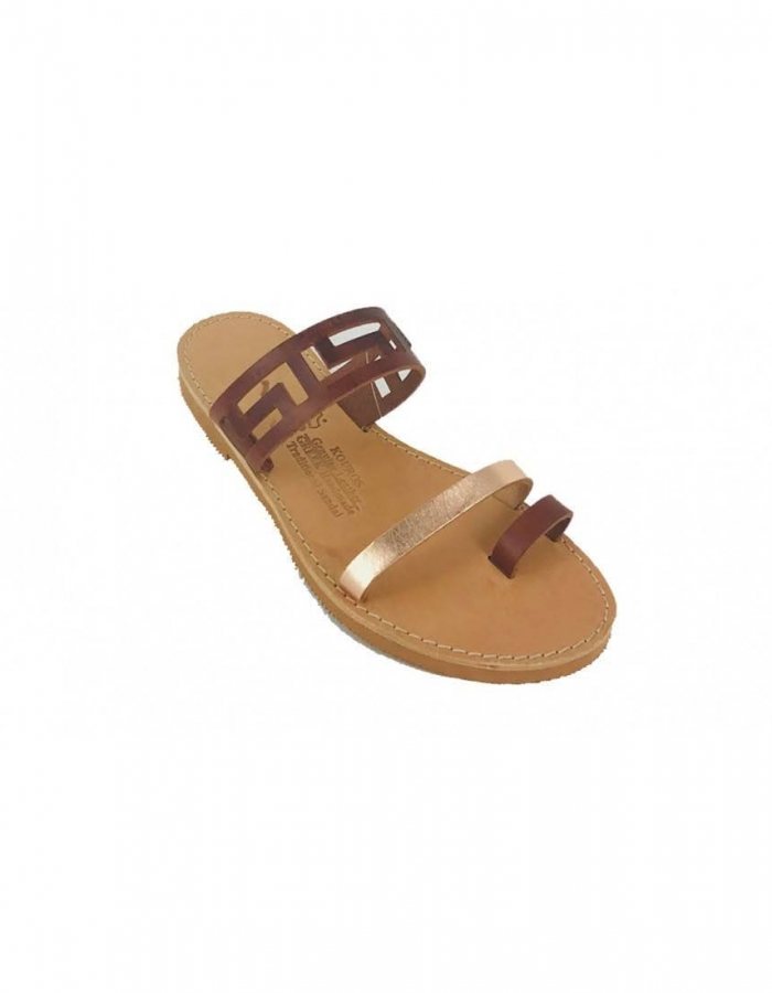 Meander Ancient Greek Style Leather Sandals Roman Handmade Womens Shoes Toe Ring Brown Spartan Summer Strappy Slip-on Slide Flat Flip Flops