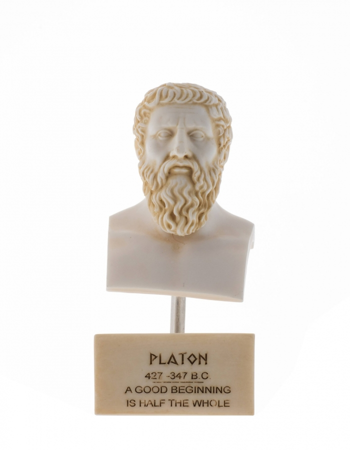 Plato Greek Father Of Philosophy Statue Alabaster Gold Tone Handmade Head Bust Sculpture Marble Base