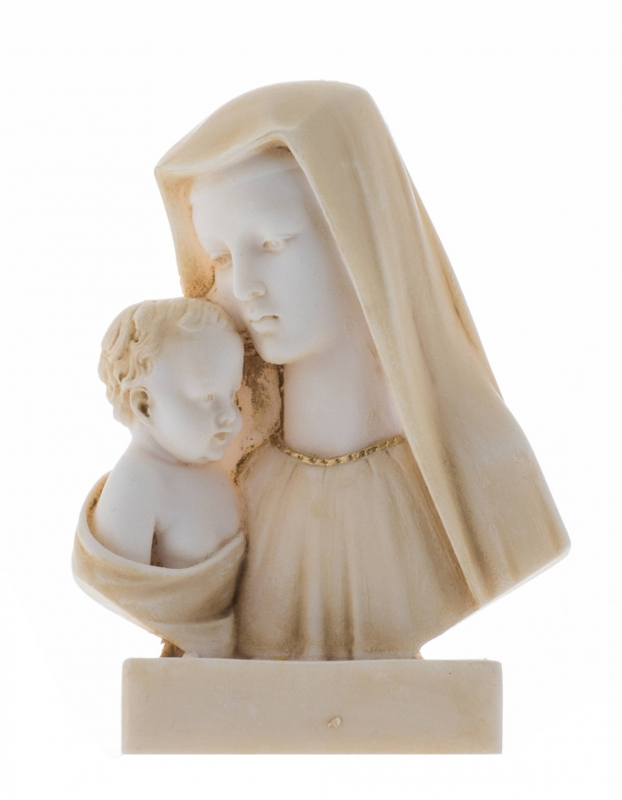 """Virgin Mary Mother of Jesus Madonna Holding Baby Statue Alabaster Bust Gold Tone 5.32"""""""
