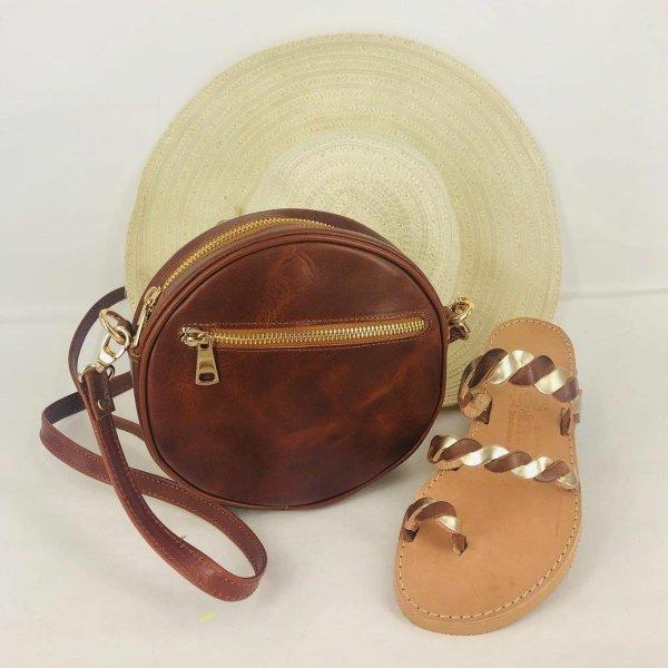 Leather Shoulder Round Bag Zipper bag Brown Beige Black Handmade Cross Body Saddle Vintage Handbag Purse