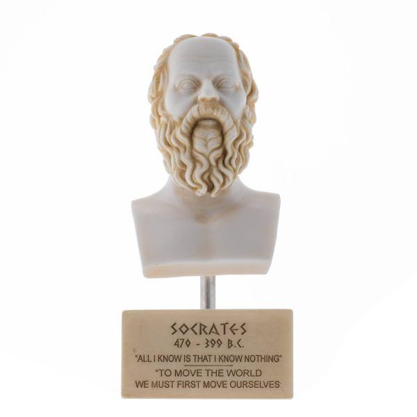 Greek Philosopher SOCRATES Bust Alabaster Statue Gold Tone Sculpture Athens Academy Marble Base