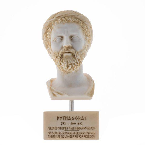 Greek Philosopher Pythagoras Bust Alabaster Statue Gold Tone Sculpture Marble Base