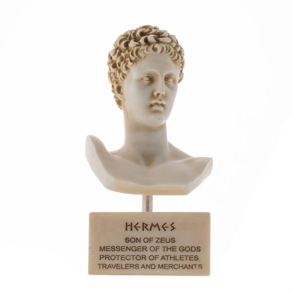 Hermes Bust Alabaster Sculpture Ancient Greek God Conductor of Souls into The Afterlife Marble Base