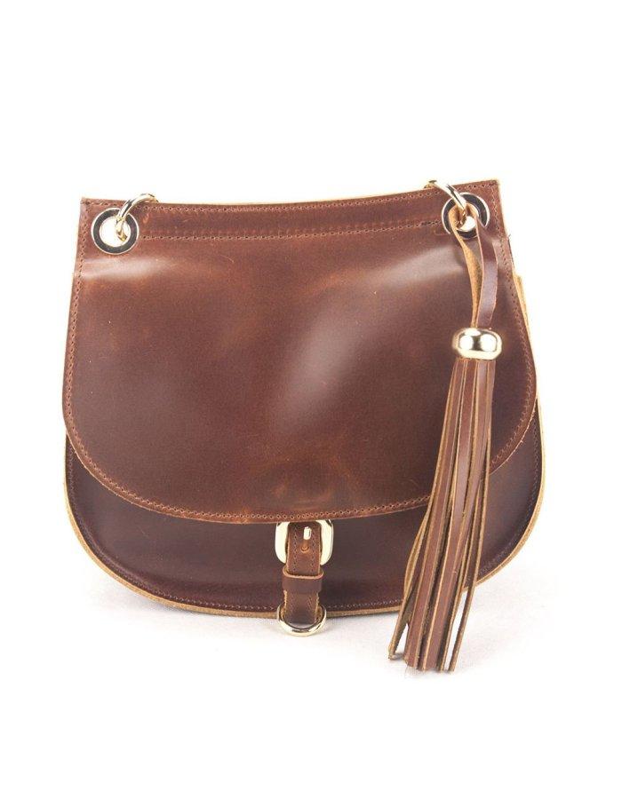 Leather Shoulder Bag Handmade Natural Tan Beige Brown Cross Body Satchel Vintage Saddle Handbag Purse  L