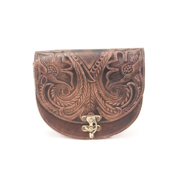 Embossed Leather Shoulder Bag Handmade Floral Pyrography Design Beige Brown Black Burgundy Cross Body Satchel Vintage Saddle Handbag Purse