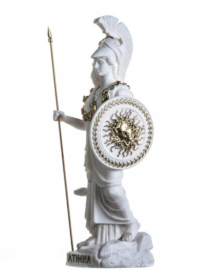 Athena with Owl Medusa Holding Shield Greek Goddess Alabaster Statue White With Gold Details 14.56″