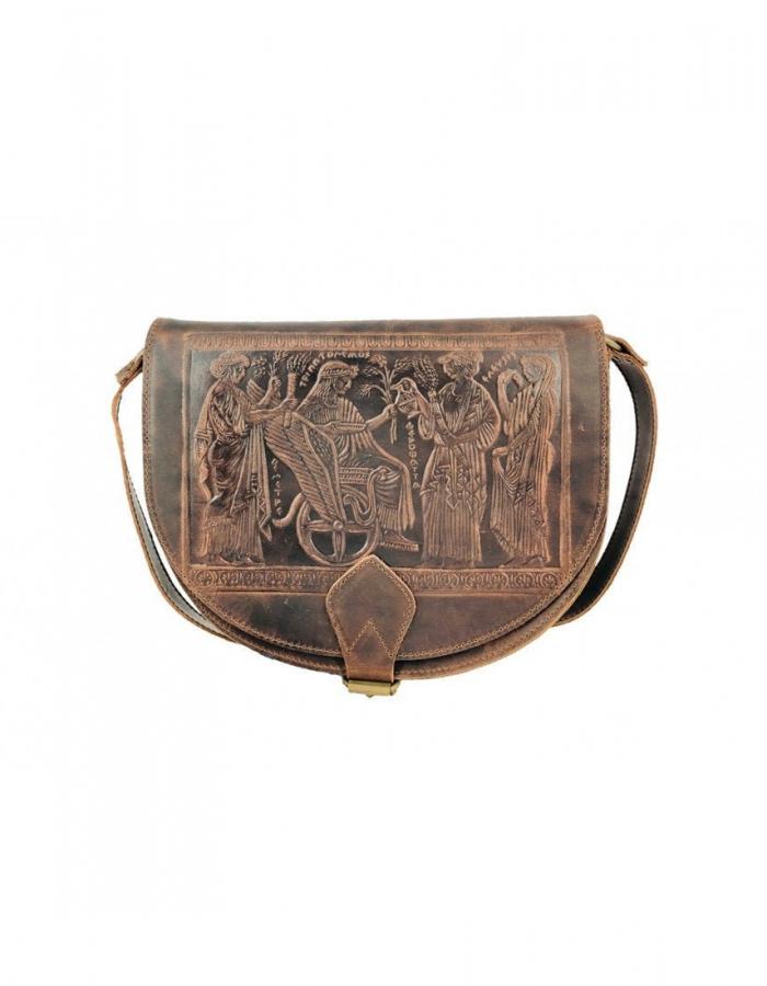 Embossed Leather Shoulder Bag Handmade Pyrography Design Ancient Greek Representation Black Cross Body Satchel Vintage Saddle Handbag Purse