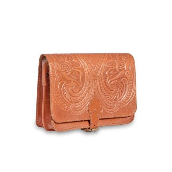 Embossed Leather Shoulder Bag Handmade Floral Pyrography Design Natural Tan Beige Brown Cross Body Satchel Vintage Saddle Handbag Purse M
