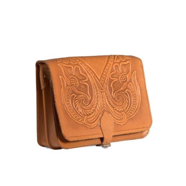 Embossed Leather Shoulder Bag Handmade Floral Pyrography Design Natural Tan Beige Brown Cross Body Satchel Vintage Saddle Handbag Purse L