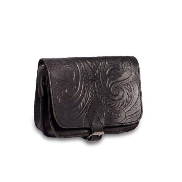 Embossed Leather Shoulder Bag Handmade Floral Pyrography Design Natural Tan Beige Brown Cross Body Satchel Vintage Saddle Handbag Purse S
