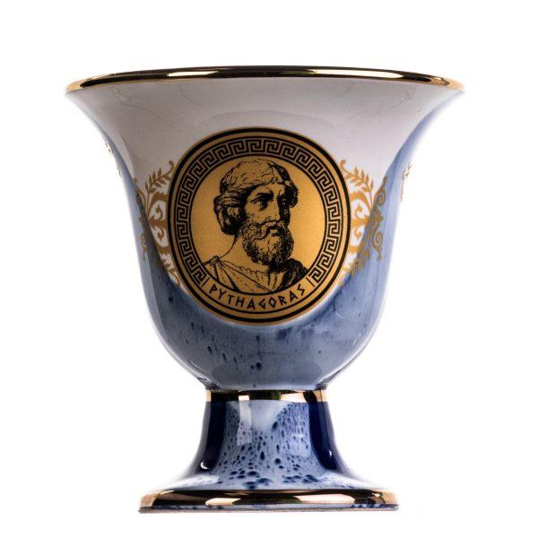 Pythagoras Cup of Justice Pythagorean Theorem Fair Mug Ancient Greece Blue Cobalt Usable