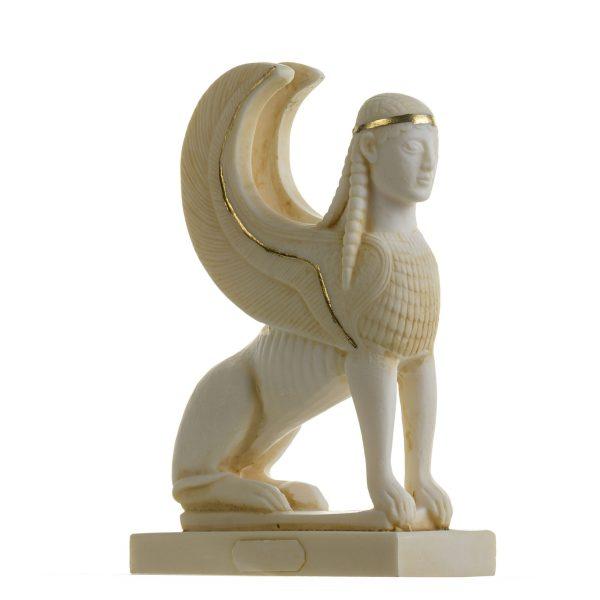 The Sphinx of Giza Pyramids Mythology Alabaster Figurine Gold Tone 6.9 Inches