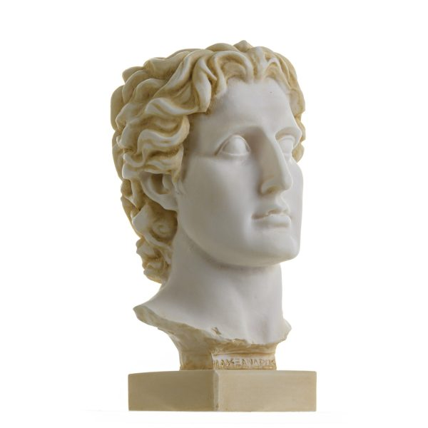 Alexander The Great of Macedonia Gold Tone Bust Greek Statue Figure 6 Inches