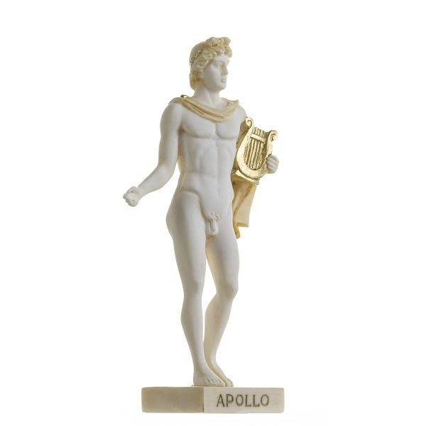 Apollo Greek God Of Music Poetry Art Alabaster Statue Gold Tone 9 Inches