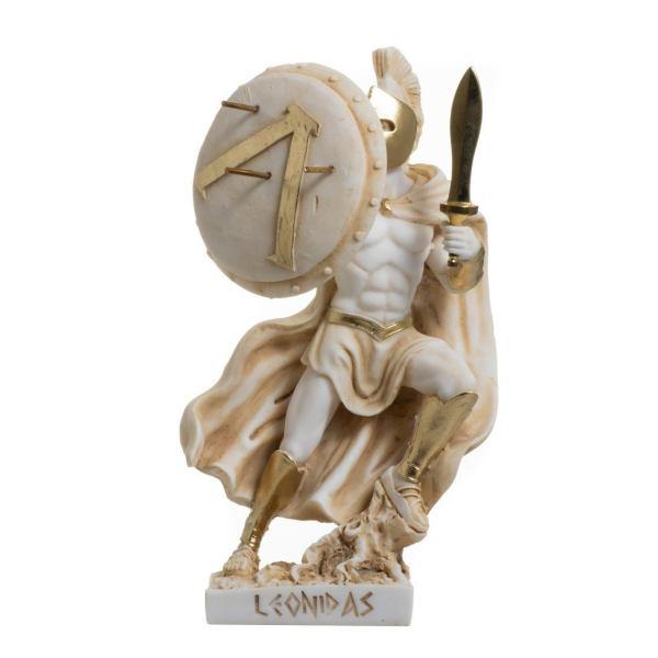 LEONIDAS Statue Greek Spartan King Sculpture Figure Alabaster Gold Colour 7.9″
