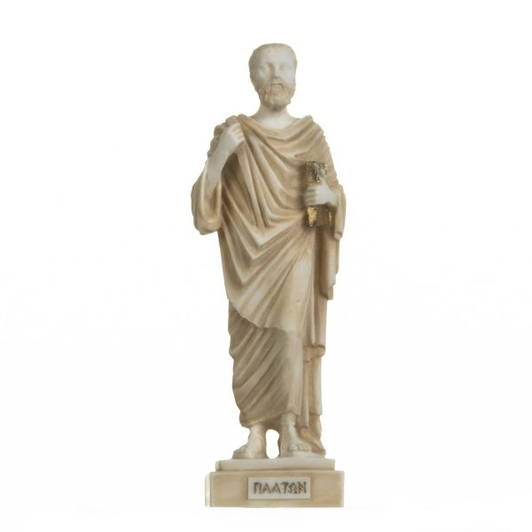 Plato Greek Father Of Philosophy Figurine Alabaster Statue Handmade Gold 9.5 Inches