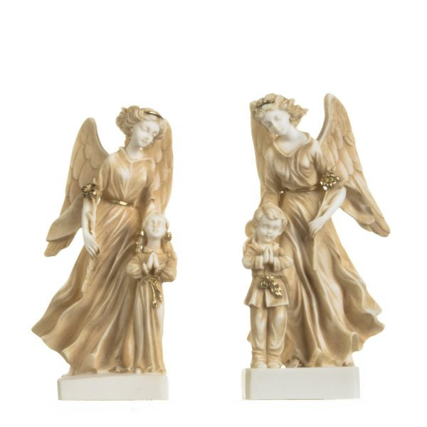 Set of Guardian Angels with Boy Girl Figurine Alabaster Statues Handmade Gold 8.4 Inches