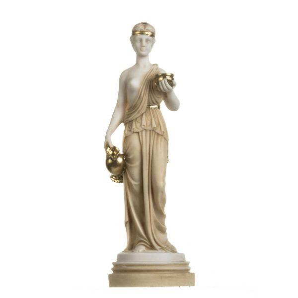 Hebe Youth Goddess Female Figure Cupbearer Mythology Alabaster Statue Handmade Gold 11.5 Inches