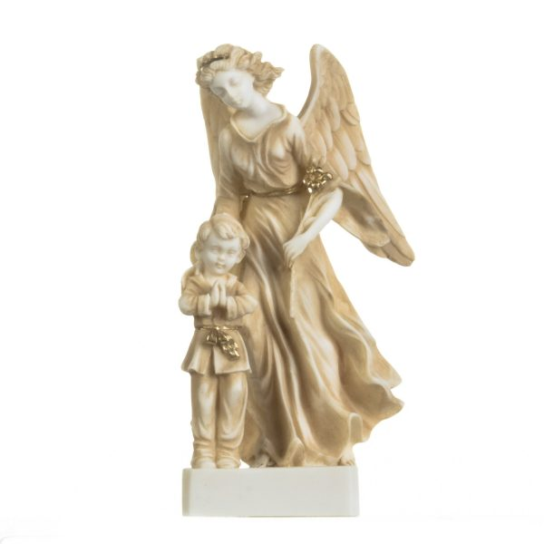 Guardian Angel with Boy Figurine Alabaster Statue Handmade Sculpture Gold 8.4 Inches