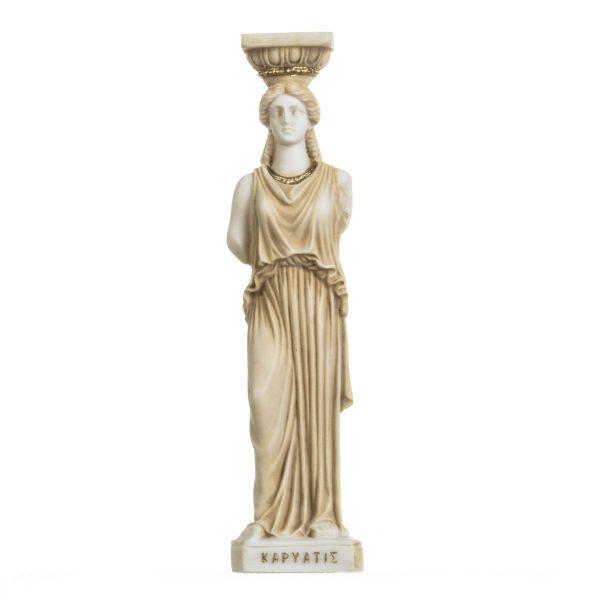 Greek Column Caryatid Caryatis Acropolis Athens Greek Roman Alabaster Statue Gold 9.8 Inches