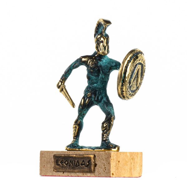 Leonidas Statue Greek Spartan King Sculpture Solid Bronze Figure With Base 5 Inches