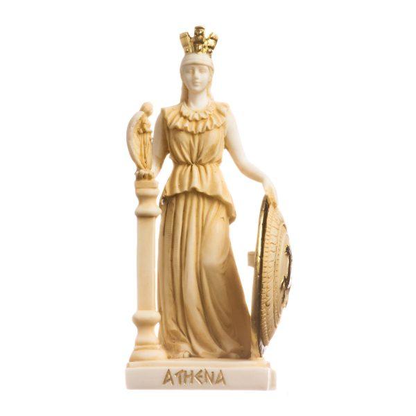 Athena Parthenos Varvakeion Holding Nike with Pegasus Shield Greek Goddess Alabaster Statue Gold 7.5inches 19cm