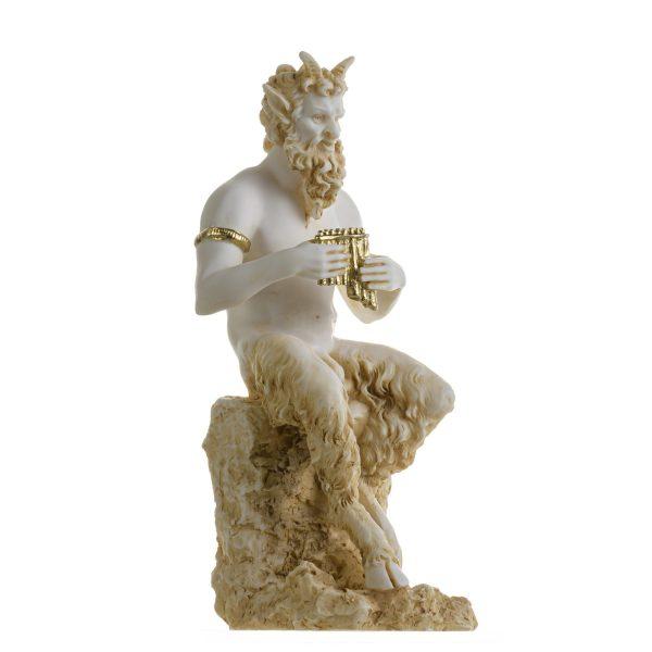 Satyr Pan Panas Greek Roman Statue Handmade Alabaster Gold Male Figure 9.5 Inches