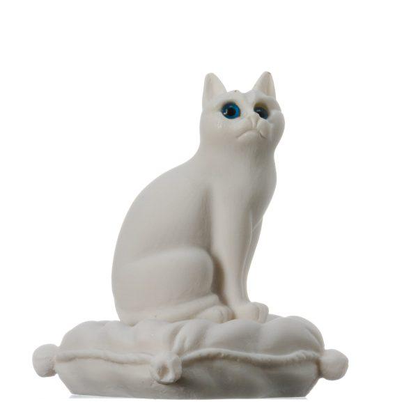 "Cat Sitting on Pillow Alabaster White sculpture Handmade 6.2"""