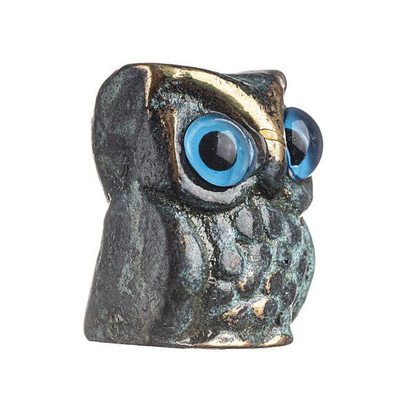 Owl of Athena Wisdom Solid Bronze Greek Green-Gold Handmade Miniature
