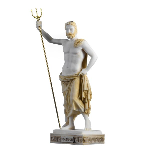 Poseidon Greek God of the Sea  With Trident Statue Figurine Gold Alabaster 10.2″