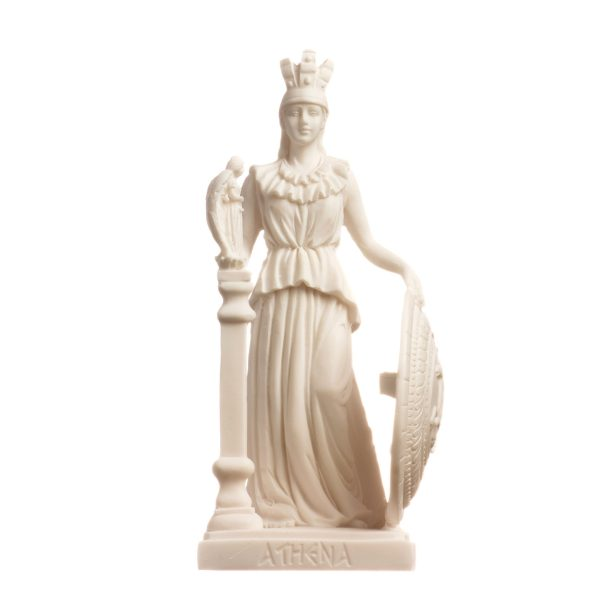 Athena Parthenos Varvakeion Holding Nike with Pegasus Shield Greek Goddess Alabaster Statue 7.5 inches