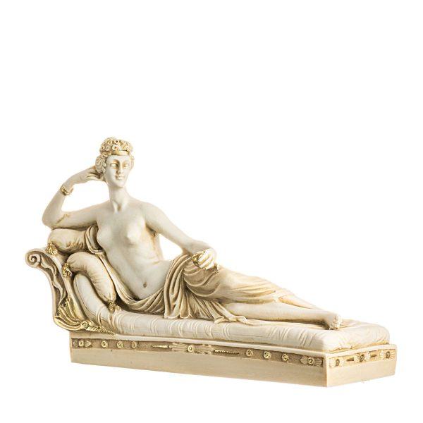 Venus Victrix Pauline Bonaparte Canova Statue Figurine Alabaster Gold Tone Large