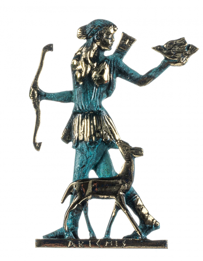 Artemis Diana Greek Goddess of Hunting with Deer Solid Bronze Statue 8 Inches