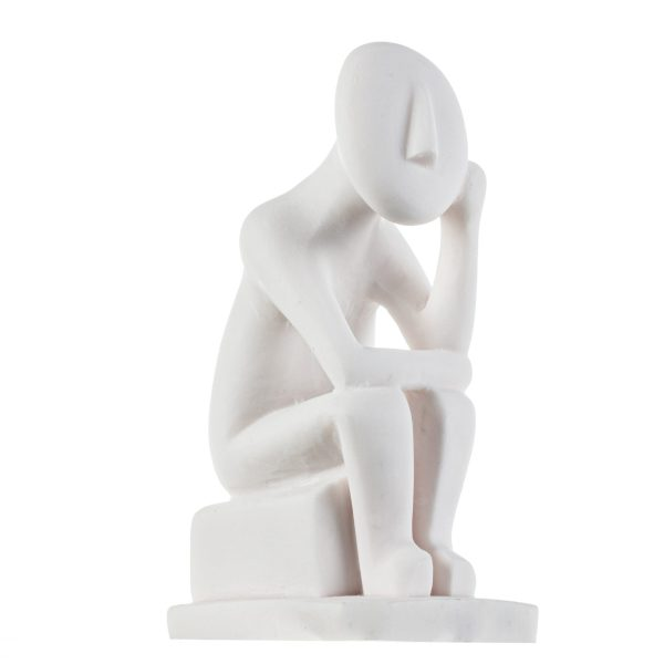 Cycladic Art Thinker Cycladic Male Idol Alabaster Statue Handmade Sculpture 6.2 Inches