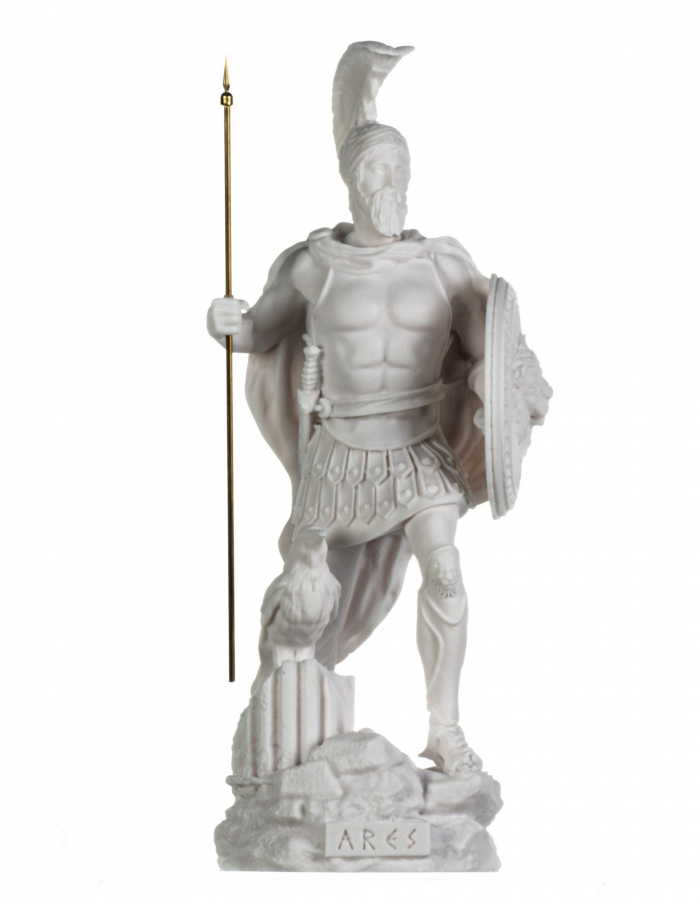 Ares Mars God of War Zeus Son Roman Statue Alabaster 14.56 inches