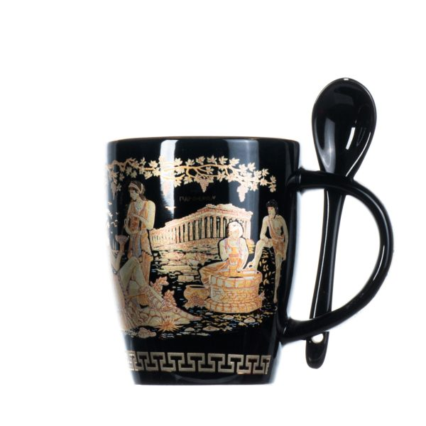 Cup Parthenon Dionysus Ancient Greek Representation Black Glass With Spoon Usable 4 Inches
