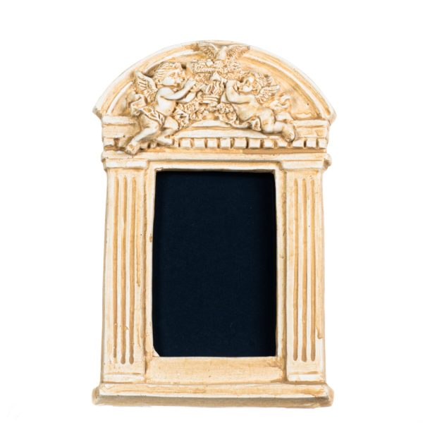 Guardian Angels Photo Frame Religion Decoration Gift Plaster Handmade Gold 7.8 Inches