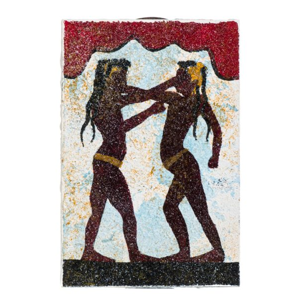 Ancient Greek Minoan Wall Painting Boxers Small Handmade Decoration Gift 6 Inches