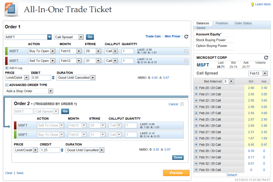 OptionsXpress All-in-One Trade Ticket