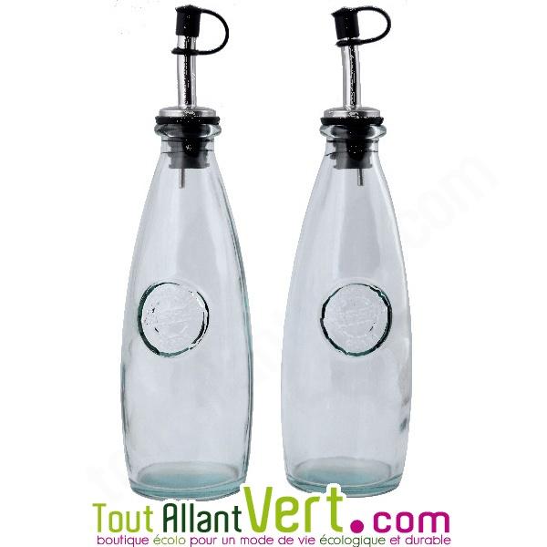 lot de 2 bouteilles huile et vinaigre avec bec verseur en verre recycle 300ml